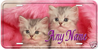 Double Furry Cat Any Name Novelty Car License Plate