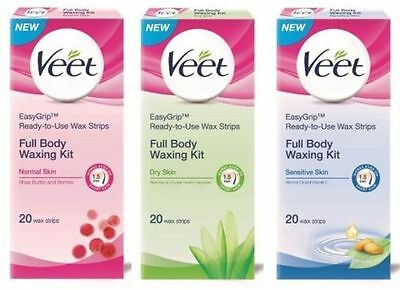 Veet Ready To Use Wax Strips Full Body Waxing Kit For Normal Dry Sensitive Skin