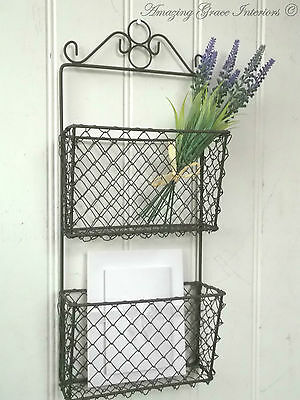 Shabby Chic Wall Letter Rack Storage Basket Unit Metal Wire Tidy Vintage Style