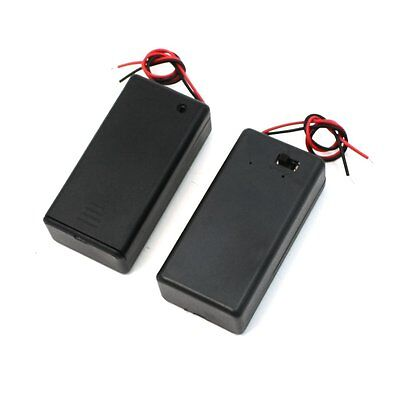 Pair 9V Battery Holder Storage Case ON/OFF Switch w Cap 2 pcs LW SZUS