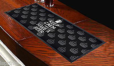 Keep Calm And Have A Beer Black Bar Runner Ideal For Home Cocktail Party Bar Mat