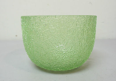 Wonderful Antique Bohemian Art Glass Finger Bowl, Green Craquelle / Overshot