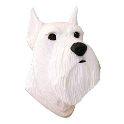 Schnauzer Head Plaque Figurine White Miniature
