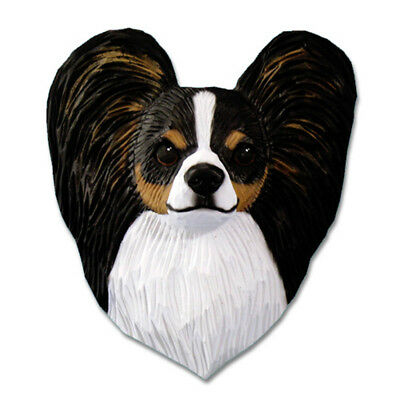 Papillon Head Plaque Figurine Tri