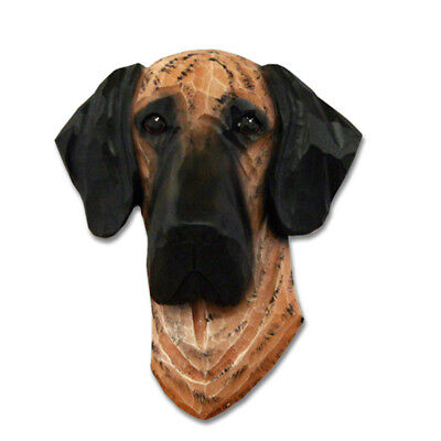 Great Dane Head Plaque Figurine Brindle Uncropped