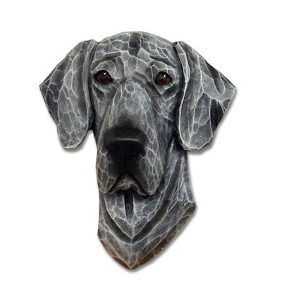 Great Dane Head Plaque Figurine Blue Uncropped