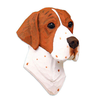 English Pointer Head Plaque Figurine Orange