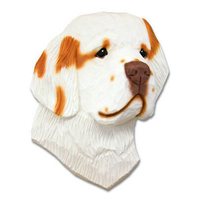 Clumber Spaniel Head Plaque Figurine Orange