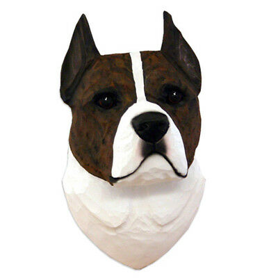 American Staffordshire Terrier Head Plaque Figurine Brindle/White