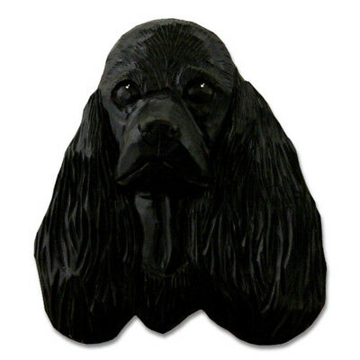 American Cocker Spaniel Head Plaque Figurine Black