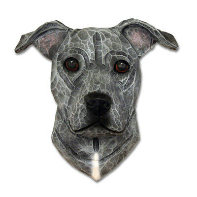 Am.Staffordshire Terrier Head Plaque Figurine Blue Uncropped