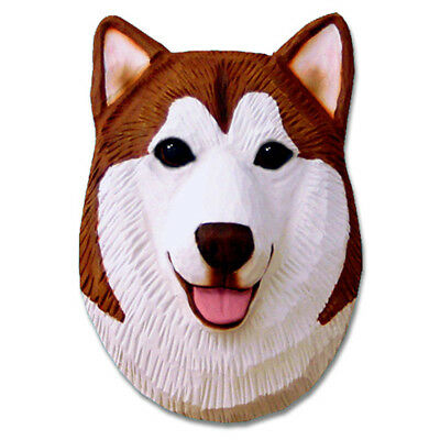 Alaskan Malamute Head Plaque Figurine Red/White