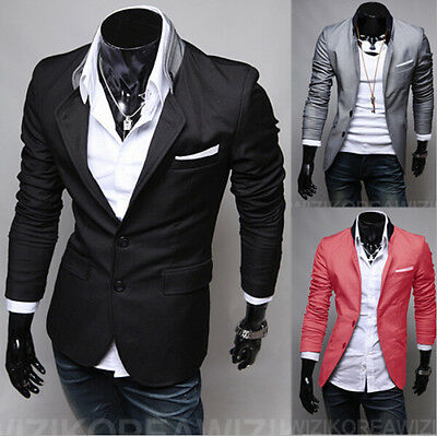 New Stylish Men's Casual Slim Fit Two Button Suit Blazer Coat Jacket Tops D34