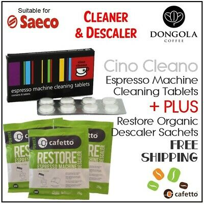 SAECO Espresso Coffee Machine Cleaning Tablets + Organic Descaler Cino Cleano