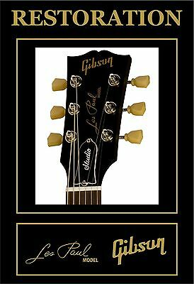 Pegatina Sticker Decal Gibson Les Paul Model Headstock Restoration Guitar