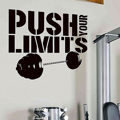 PUSH YOUR LIMITS Gym Workout Fitness Wall Art Tattoo Decal Sticker Barbell Reps