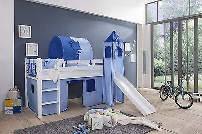 Play bed Loft bed Kid's bed with Slide + Tower Pine White Naval