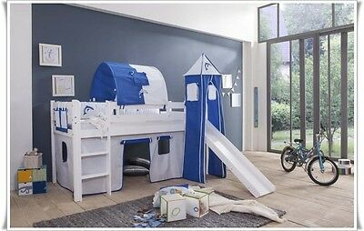 Loft bed play bed with slide and tower + Mattress + Slats White Delp
