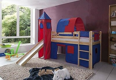 Play bed Loft bed Kid's bed with tower and slide + Vorhangset Pine Natural BR