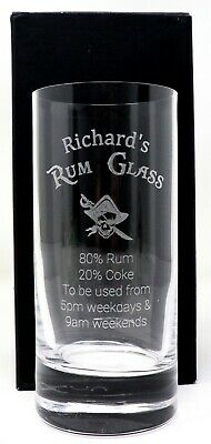 Personalised RUM % Highball Glass Gift Dad/Grandad/Mum/Birthday/Daddy/Nanny/Nan