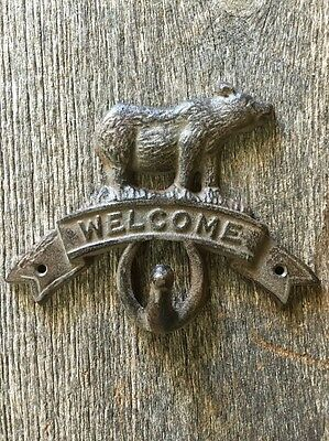 Cast Iron Rustic BEAR Coat Hook Moose WELCOME Plaque Sign Hat Hook, Key Rack