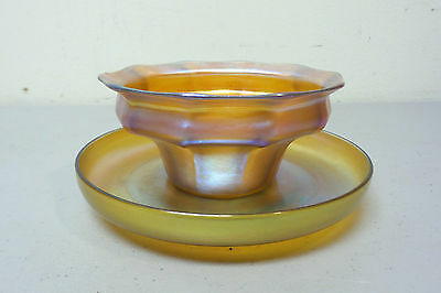 Beautiful Signed L.c. Tiffany Favrile Gold Iridescent Finger Bowl & Under Plate