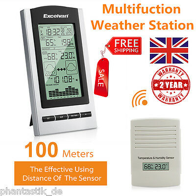 Wireless Weather Station Forecast  Barometer Temperature Humidity Outdoor Sensor