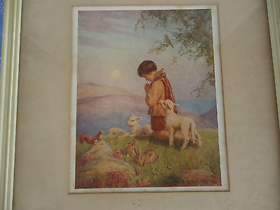 margaret tarrant all creatures great & small picture framed boy praying vintage