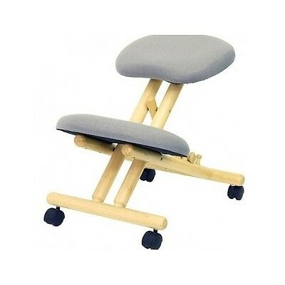 Kneeling Ergonomic Chair Posture Back Adjustable Wooden Office Grey Painless