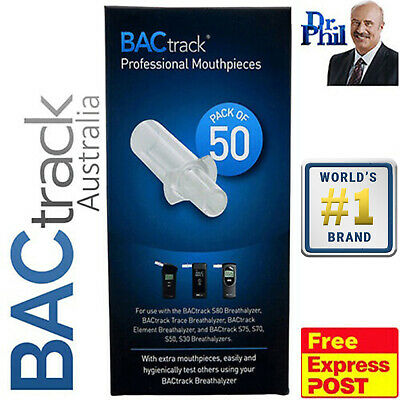Breathalyser. Alcohol Breath Tester. 50 x BACtrack Pro Mouthpieces (S80 / Trace)