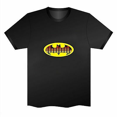 Sound Activated LED T-Shirt Music Disco Party Batman Glow in the dark