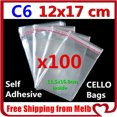 100x C6 Cello Bag 120x170mm Cellophane Clear Resealable Plastic Cards Reseal