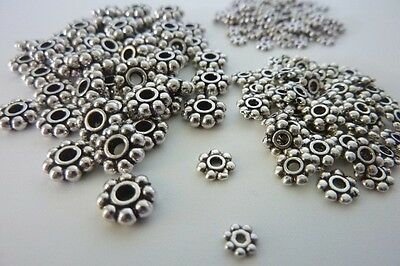200 pce Antique Silver Daisy Spacer Beads Size Mix 4mm / 6mm / 8mm