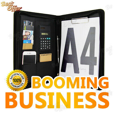 A4 Black Business Folder Folio Portfolio Zippered Documents Clipboard iPad Case