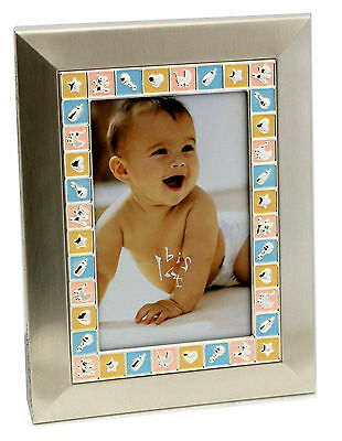 Baby Girl or Baby Boy Quality Silver Blocks Photo Frame Baby Gift Idea