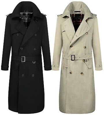 Men Traditional Double Breasted Long Trench Coat Rain Cotton Military Winter Mac