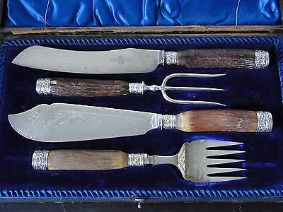 Carving/ Serving Set Silver Plate Horn Handle Game Of Thrones Style Antique 1870