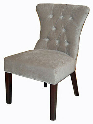 Platinum Tufted Fabric Dining Chair w/Brass Nail head RV-9009MF