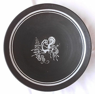 Mid Century Ceramic Bowl Signed ANHD Holland 1954, Painted Frolicking Horses