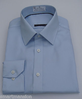 Ex M&S Mens New Cotton Regular Fit Sky Blue Long sleeve Twill Shirt Sizes 15-15.