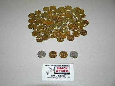 "(100) Amusement Arcade Vending Machine 0.984"" TOKENS or COINS - New Brass Plated"