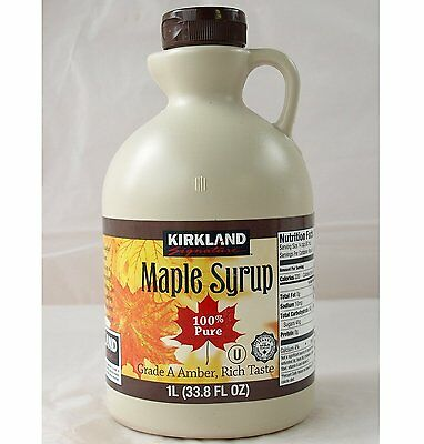 6 X Canadian Maple Syrup Kirkland 100% Pure Grade A - 1 Litre -  Amber
