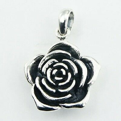 Silver pendant hand crafted Rose Flower Antique 925 sterling silver 27mm height