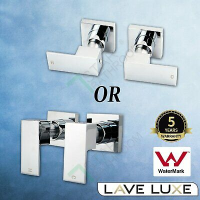 Square 1/4 Turn Wall Twin Taps Brass Set Shower Head Vanity Basin Spout CHROME