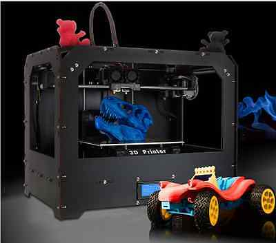 New 3D printer, dual extruder + New Extruder + Dual nozzle W/   Abs or Pla Spool