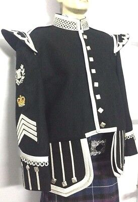 Drum Major Fancy Doublet Black With Silver Braid & White piping.