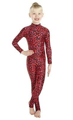 Catsuit Long Sleeves Polo Full Back - Animal Print - Red Leopard Print (#ELSA)