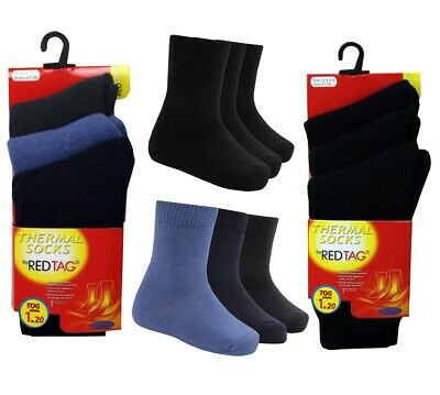 Kids Boys Red Tag 3 Pairs Warm Winter Heat Socks Thermal Thick Tog 1.2