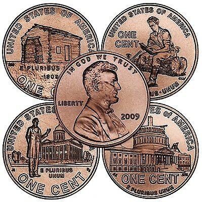 Complete Set Lincoln 2009 Cent Penny P&D Mint, 8 Coins, Uncirculated.