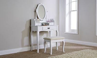 Victorian Antique Style White Lumberton Dressing Table with Padded Stool